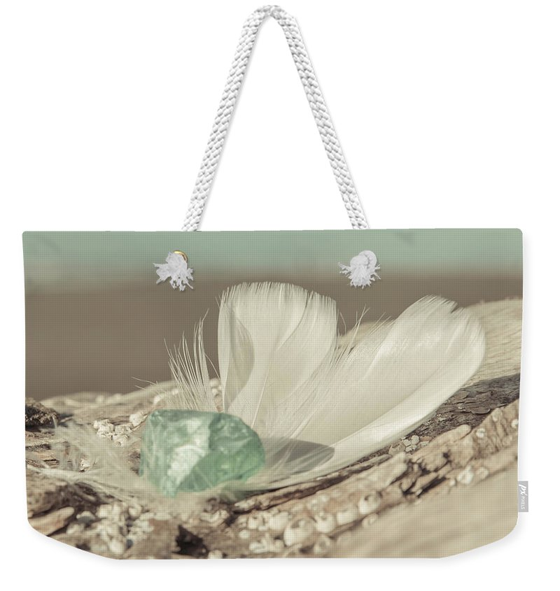 Sea Glass Feathers Photography Print Weekender Tote Bag featuring the photograph Weighted Feathers by Lucid Mood