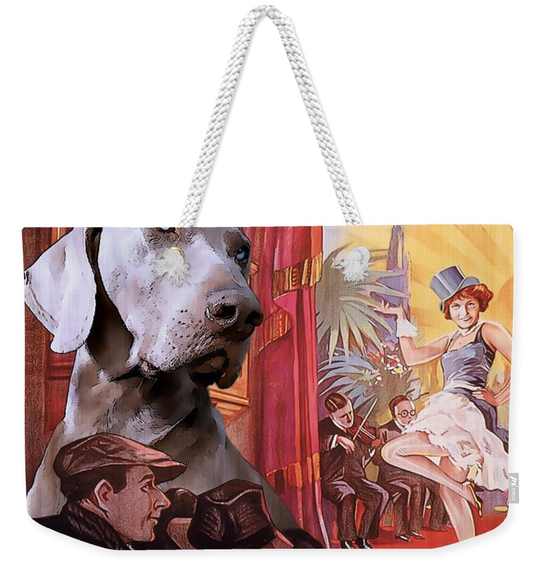 Weimaraner Weekender Tote Bag featuring the painting Weimaraner Art Canvas Print - Der Blaue Engel Movie Poster by Sandra Sij