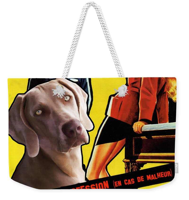 Weimaraner Weekender Tote Bag featuring the painting Weimaraner Art Canvas Print - Love Is My Profession Movie Poster by Sandra Sij
