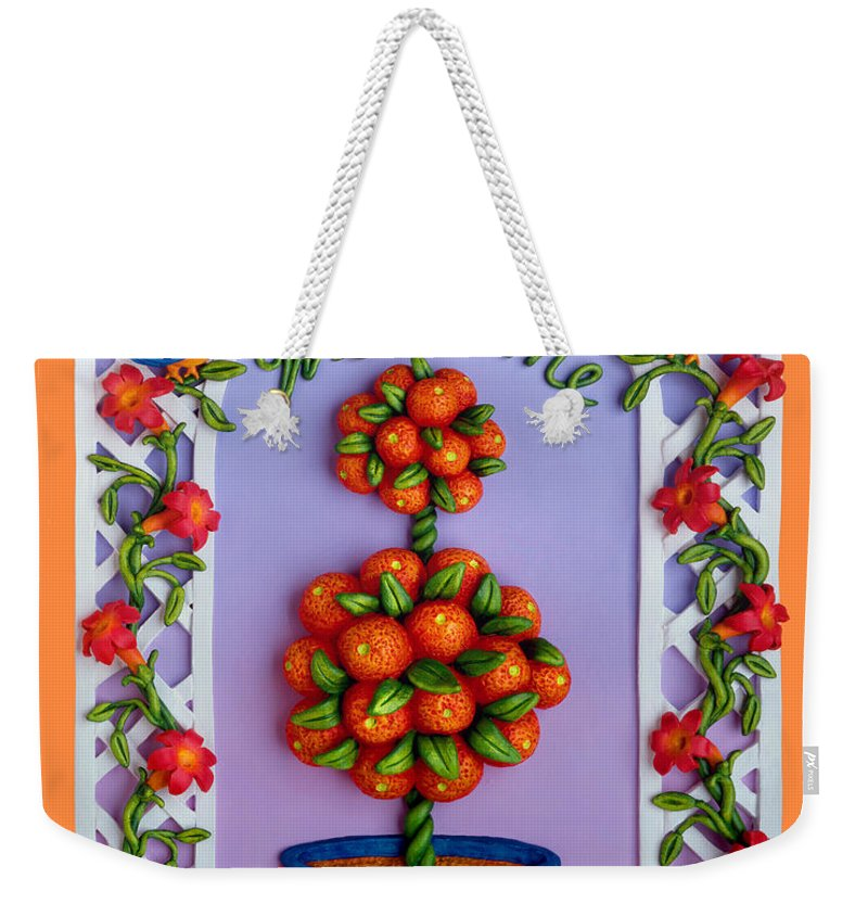 Garden Scene Weekender Tote Bag featuring the mixed media Welcome by Amy Vangsgard