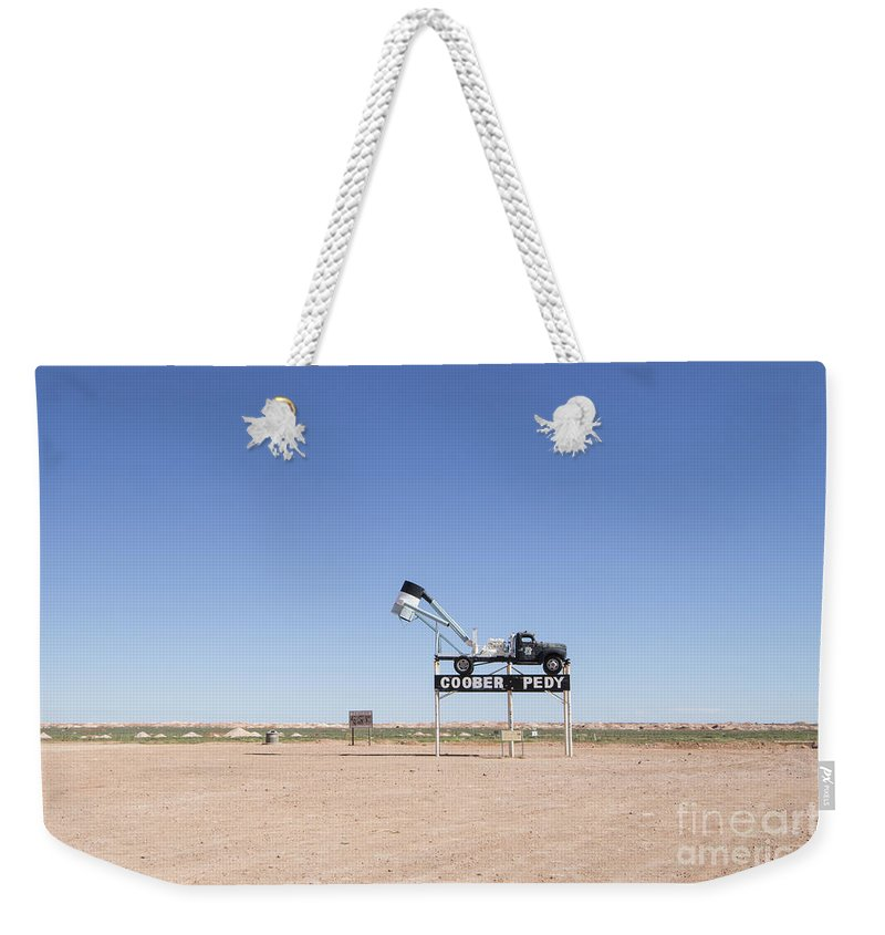 Blower Weekender Tote Bag featuring the photograph Welcome To Coober Pedy by Linda Lees