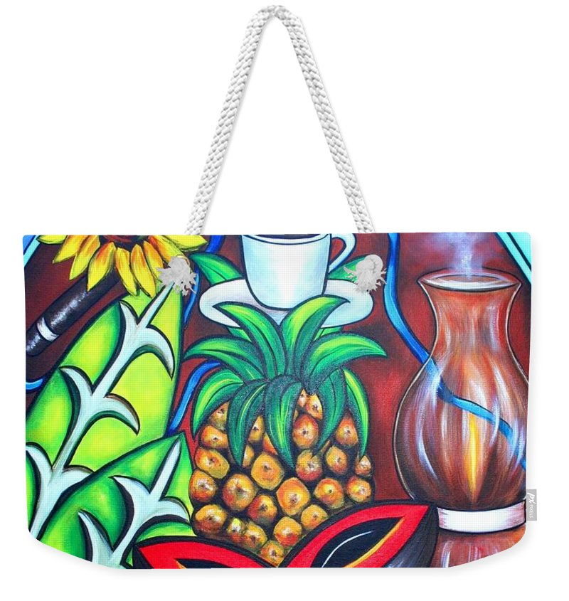 Cuban Paintings Weekender Tote Bag featuring the painting Welcome To Here And Now by Annie Maxwell