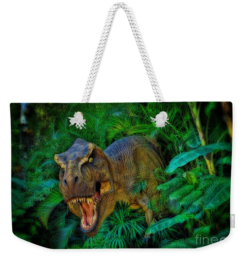 Tyrannosaurus Rex Weekender Tote Bag featuring the photograph Welcome To My Park Tyrannosaurus Rex by Olga Hamilton