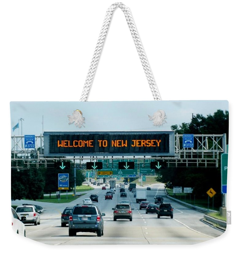 Road Weekender Tote Bag featuring the photograph Welcome To New Jersey by Zina Stromberg
