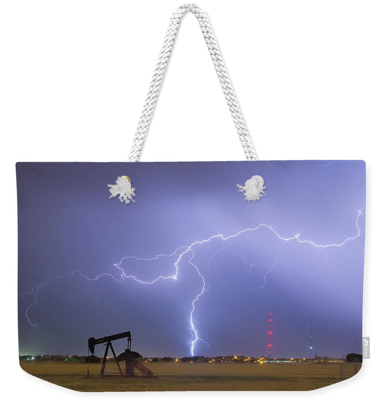 Lightning Weekender Tote Bag featuring the photograph Weld County Dacona Oil Fields Lightning Thunderstorm by James BO Insogna