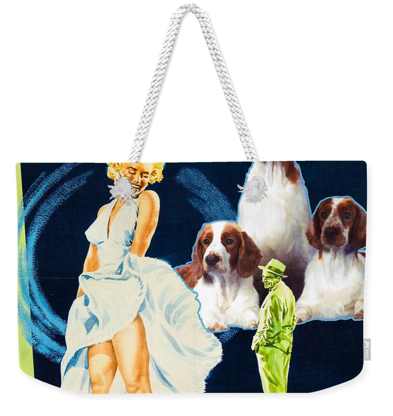 Springer Spaniel Weekender Tote Bag featuring the painting Welsh Springer Spaniel Art Canvas Print - The Seven Year Itch Movie Poster by Sandra Sij
