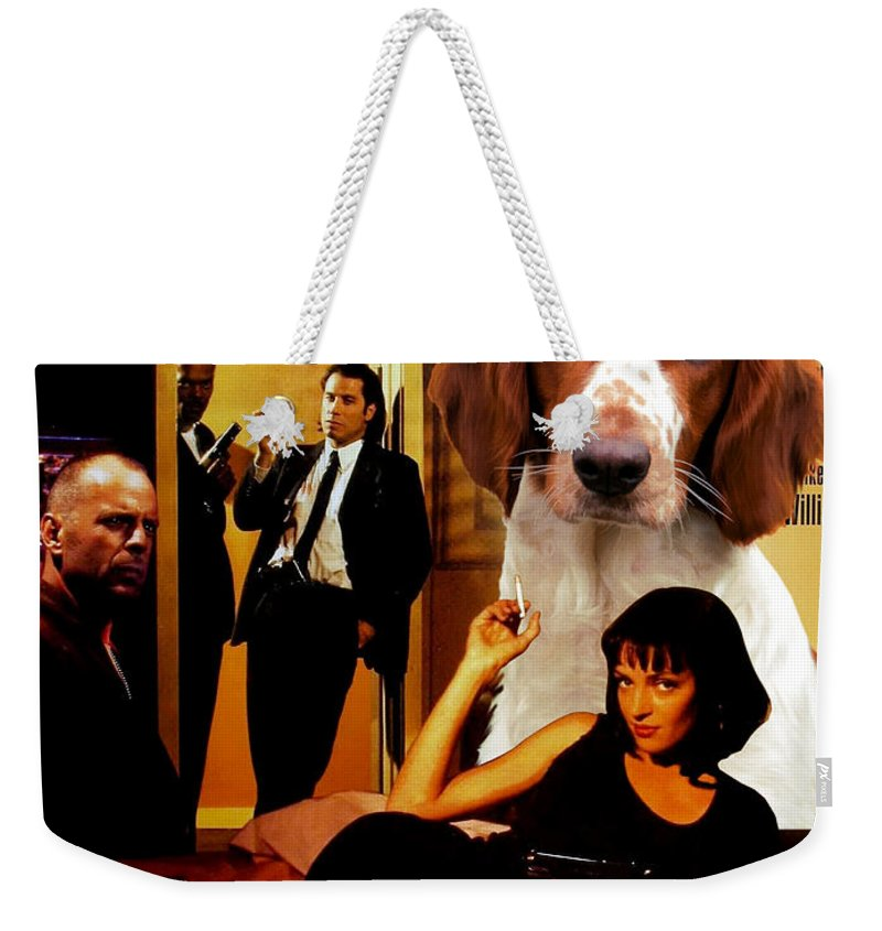 Springer Spaniel Weekender Tote Bag featuring the painting Welsh Springer Spaniel Art Canvas Print - Pulp Fiction Movie Poster by Sandra Sij