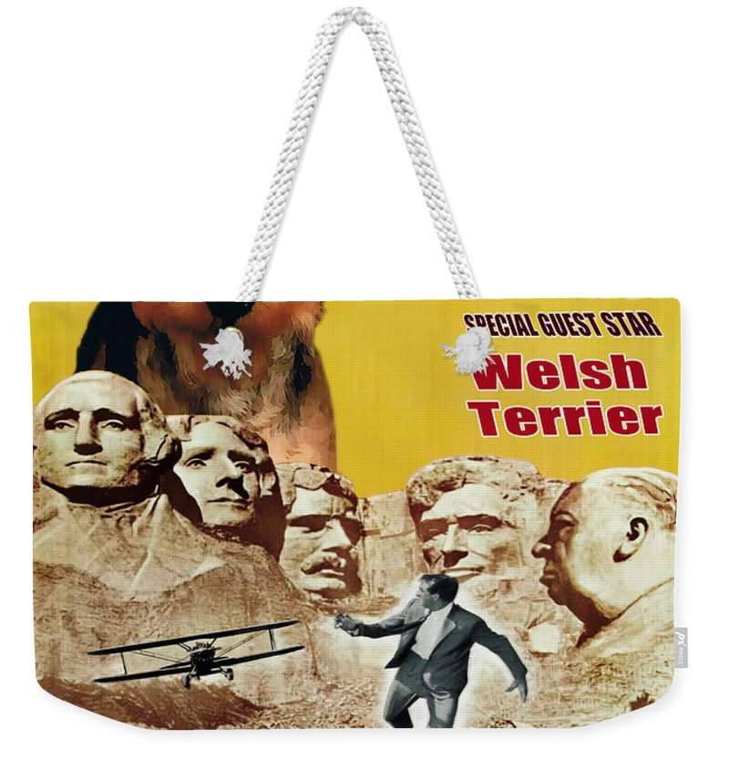 Welsh Terrier Weekender Tote Bag featuring the painting Welsh Terrier Art Canvas Print - North By Northwest Movie Poster by Sandra Sij