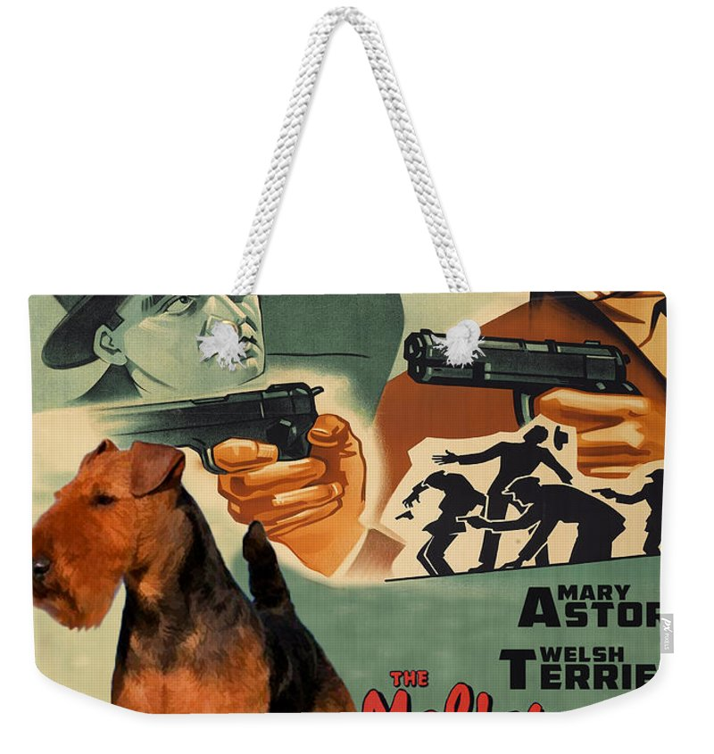 Welsh Terrier Weekender Tote Bag featuring the painting Welsh Terrier Art Canvas Print - The Maltese Falcon Movie Poster by Sandra Sij
