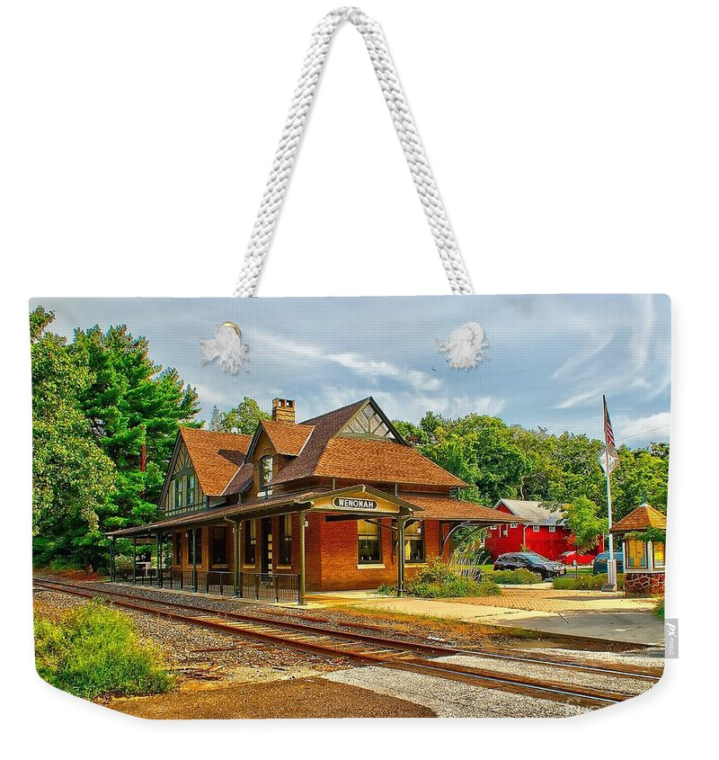 Train Weekender Tote Bag featuring the photograph Wenonah Train Station by Nick Zelinsky