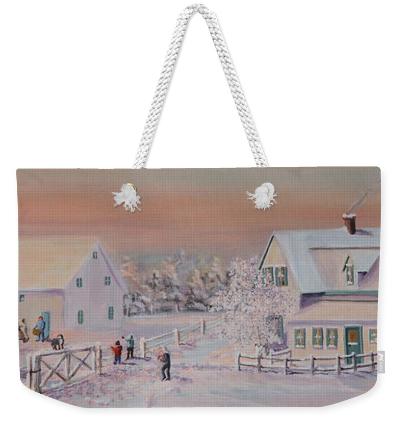 Horse Weekender Tote Bag featuring the painting We're Ready Dad Come On by Lorraine Vatcher
