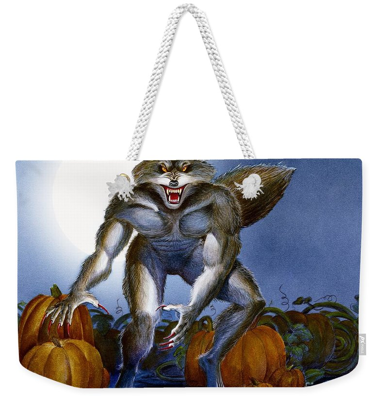 Werewolf Weekender Tote Bag featuring the painting Werewolf With Pumpkins by Melissa A Benson