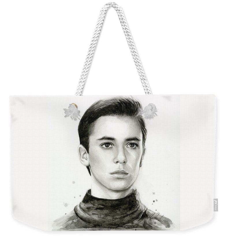 Wesley Weekender Tote Bag featuring the painting Wesley Crusher Star Trek Fan Art by Olga Shvartsur
