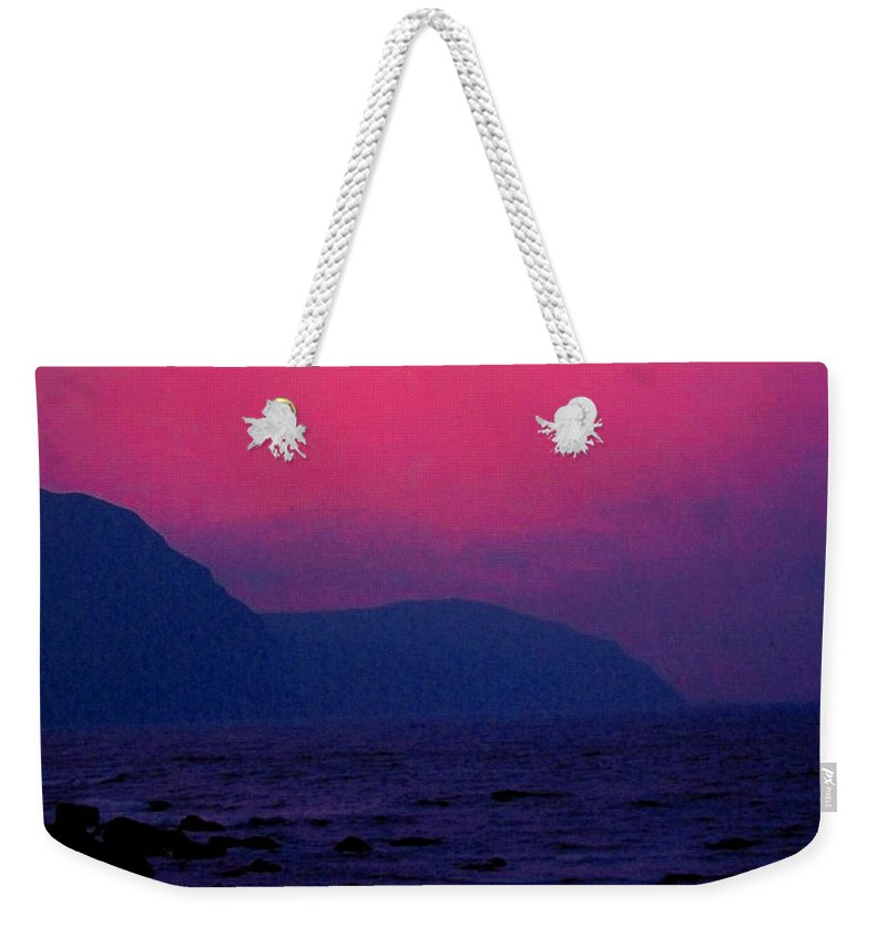 Newfoundland Weekender Tote Bag featuring the photograph West Coast Newfoundland Sunrise by Ian MacDonald