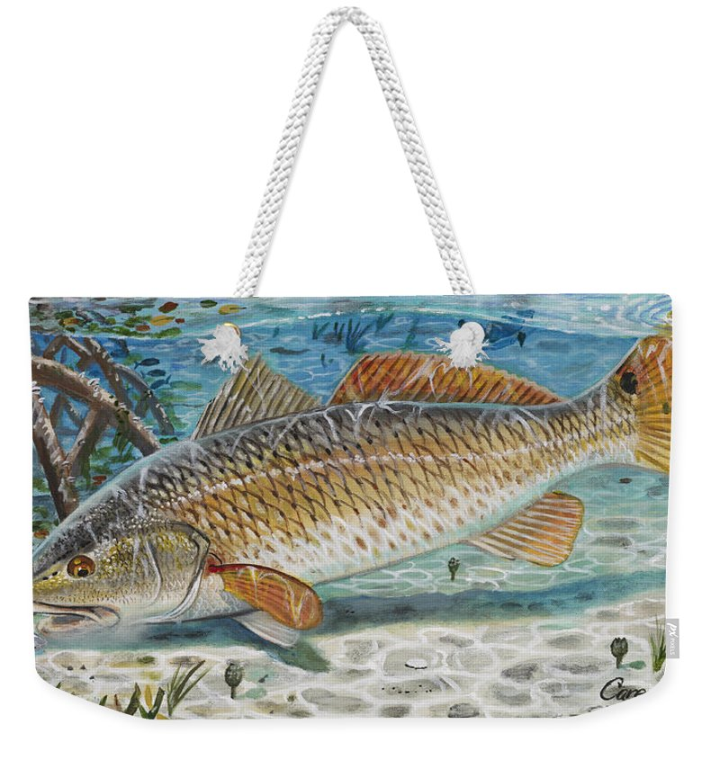 Redfish Weekender Tote Bag featuring the painting West Coast Red by Carey Chen