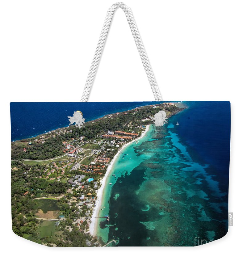 Roatan Weekender Tote Bag featuring the photograph West End Roatan Honduras by Peggy Hughes