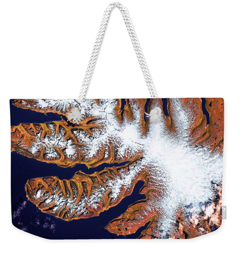 West Fjords Weekender Tote Bag featuring the photograph West Fjords by USGS Landsat