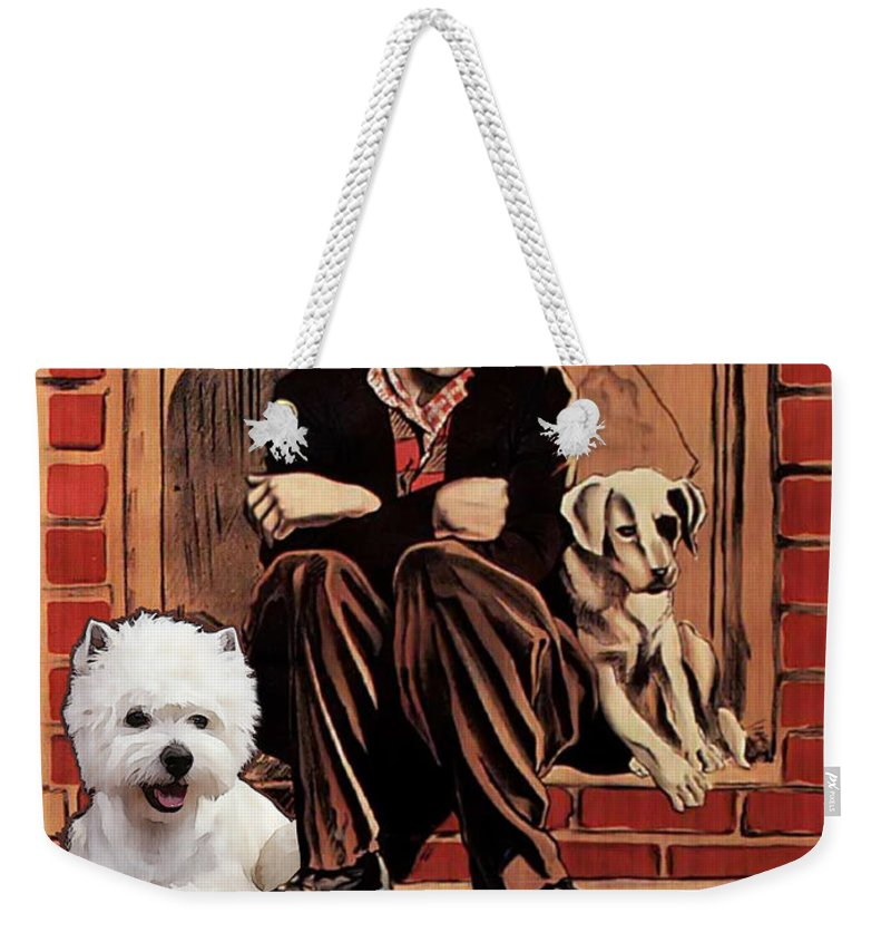 Westie Weekender Tote Bag featuring the painting West Highland White Terrier Art Canvas Print - A Dogs Life Movie Poster by Sandra Sij