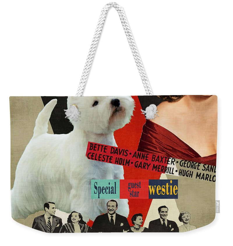 Westie Weekender Tote Bag featuring the painting West Highland White Terrier Art Canvas Print - All About Eve Movie Poster by Sandra Sij