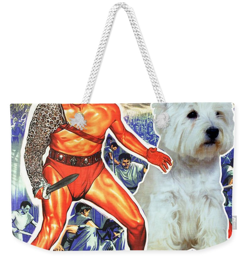 Westie Weekender Tote Bag featuring the painting West Highland White Terrier Art Canvas Print - Spartacus Movie Poster by Sandra Sij