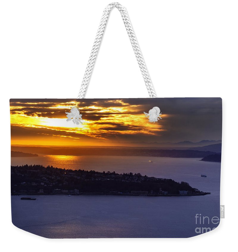 Seattle Weekender Tote Bag featuring the photograph West Seattle Soaring Sunset by Mike Reid