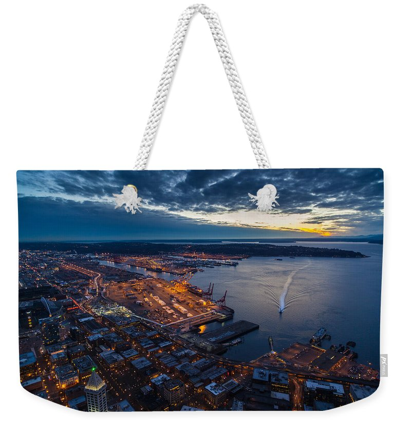 Seattle Weekender Tote Bag featuring the photograph West Seattle Water Taxi by Mike Reid