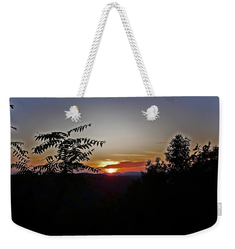 Sunset Weekender Tote Bag featuring the photograph West Virginia Sunset 1 by Aimee L Maher ALM GALLERY