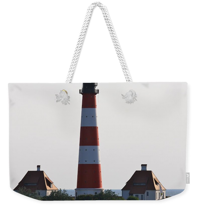 Lighthouse Weekender Tote Bag featuring the photograph Westerhebersand Lighthouse I- North Sea - Germany by Christiane Schulze Art And Photography
