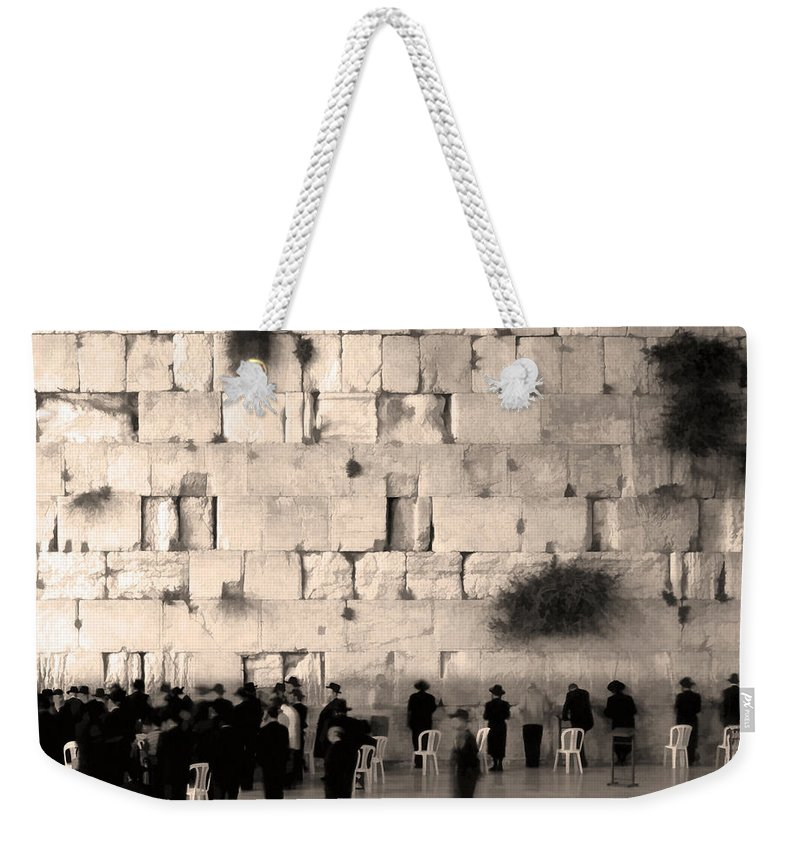 Orthodox Religous Jews Praying Jerusalem Israel Wailing Western Wall Art Photo Fresco Sepia Weekender Tote Bag featuring the photograph Western Wall Photopaint One by Joseph Hedaya