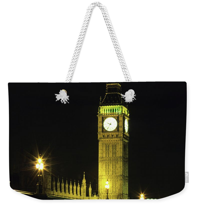 Gothic Style Weekender Tote Bag featuring the photograph Westminster Bridge And Big Ben At by Hisham Ibrahim