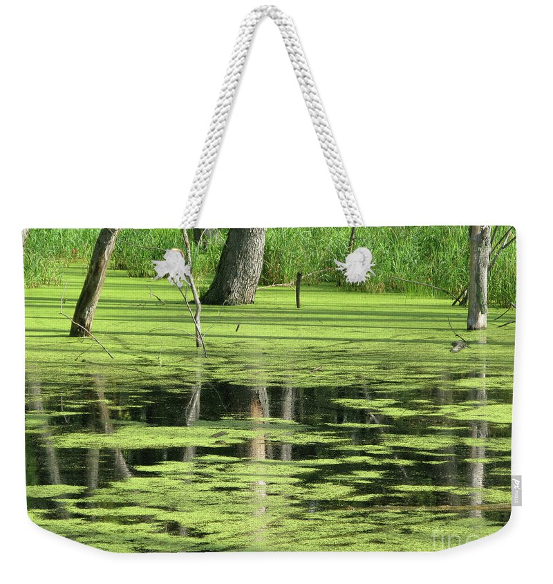 Landscape Weekender Tote Bag featuring the photograph Wetland Reflection by Ann Horn