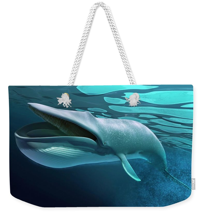 Underwater Weekender Tote Bag featuring the digital art Whale, Artwork by Leonello Calvetti