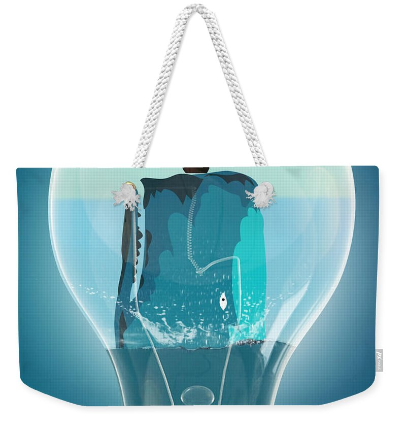 Moby Dick Weekender Tote Bag featuring the digital art Whale Lights by Mark Ashkenazi