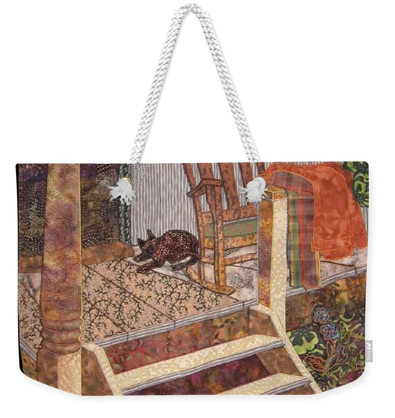 Old Porch Weekender Tote Bag featuring the tapestry - textile What A Time It Was by Carol Bridges
