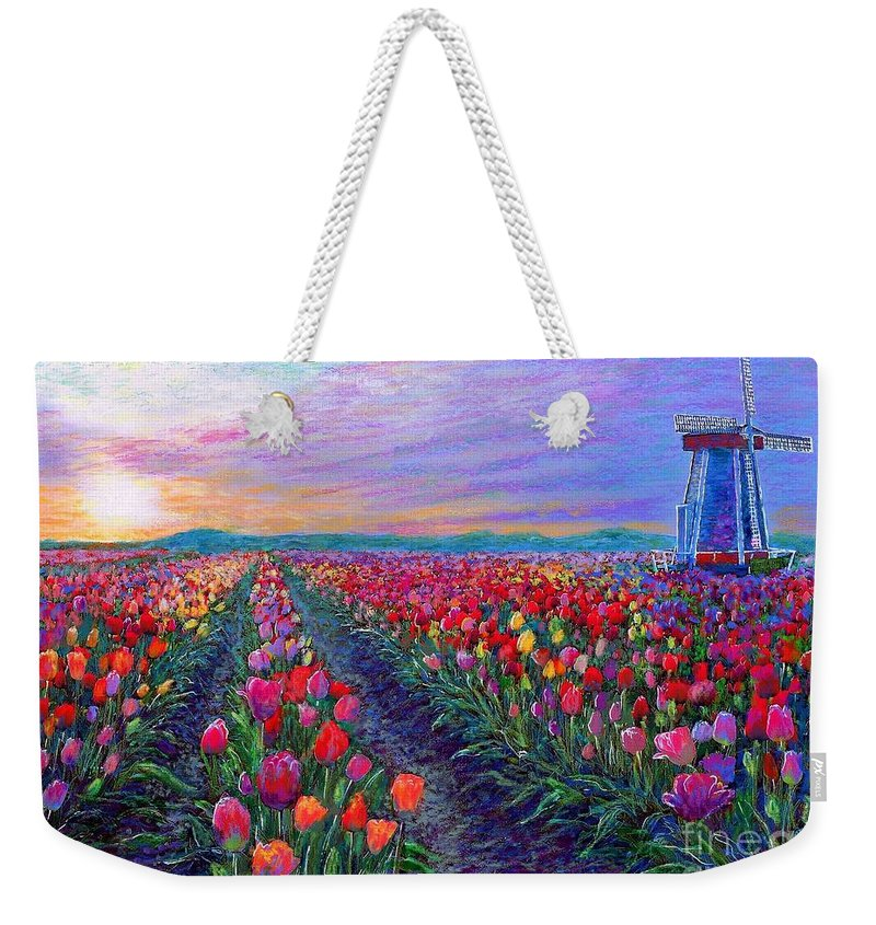 Sun Weekender Tote Bag featuring the painting Tulip Fields, What Dreams May Come by Jane Small