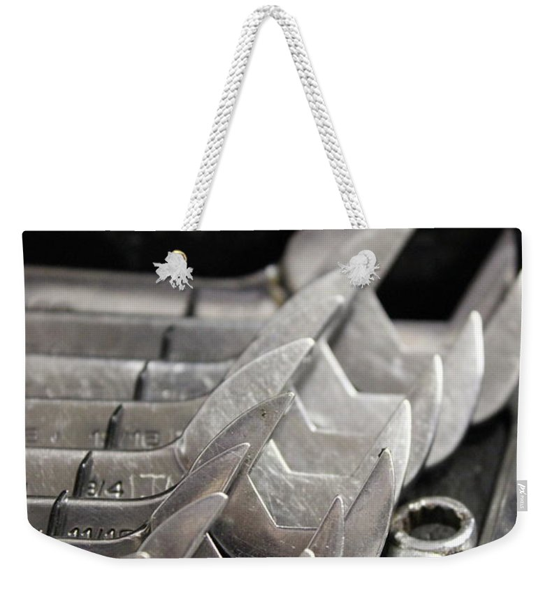 Wrench Weekender Tote Bag featuring the photograph What Size Works by Tiffany Erdman