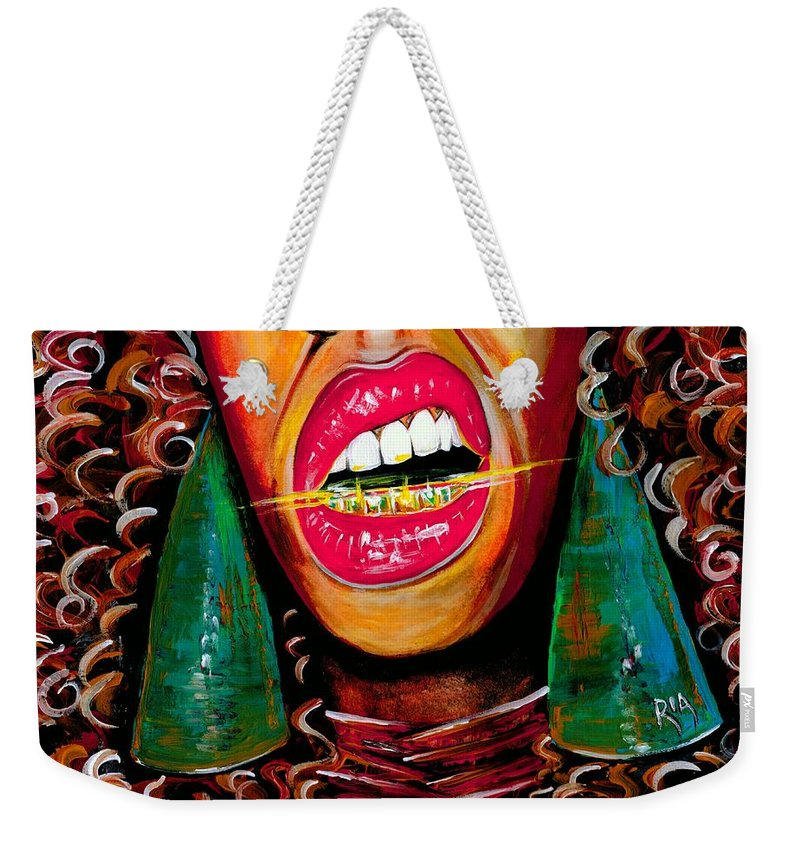 Gold Weekender Tote Bag featuring the photograph What Yo Name Is by Artist RiA