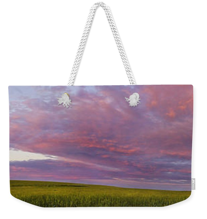 Panorama Weekender Tote Bag featuring the photograph Wheat Field Sunset Panorama by Andrea Goodrich