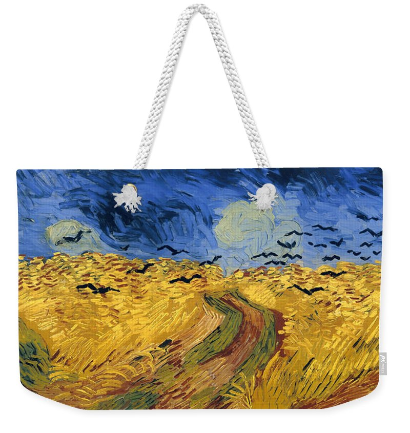 Masterpiece Weekender Tote Bag featuring the painting Wheat Field With Crows by Mountain Dreams