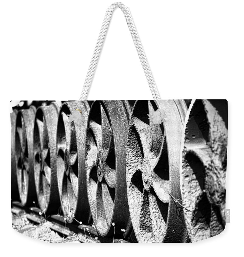 Steam Weekender Tote Bag featuring the photograph Wheels V2 by Douglas Barnard