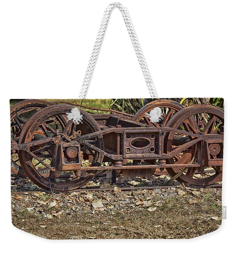 Steam Weekender Tote Bag featuring the photograph Wheels V3 by Douglas Barnard