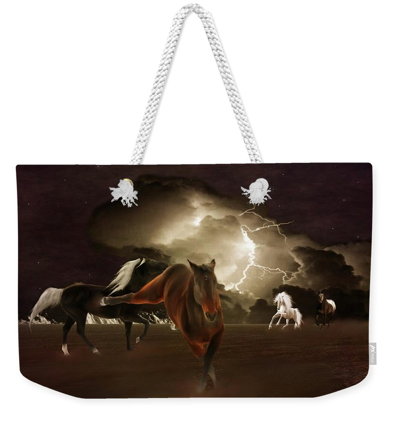 Animal Weekender Tote Bag featuring the photograph When Lightning Strikes by Davandra Cribbie