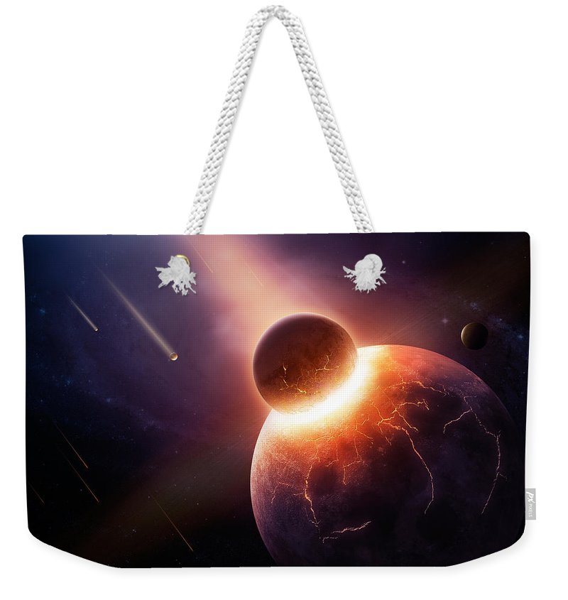 Earth Weekender Tote Bag featuring the photograph When Planets Collide by Johan Swanepoel