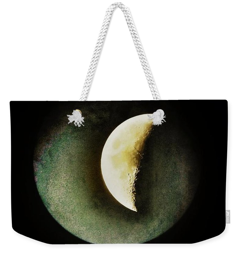 Moon Weekender Tote Bag featuring the photograph When The Moons Collide by Marianna Mills