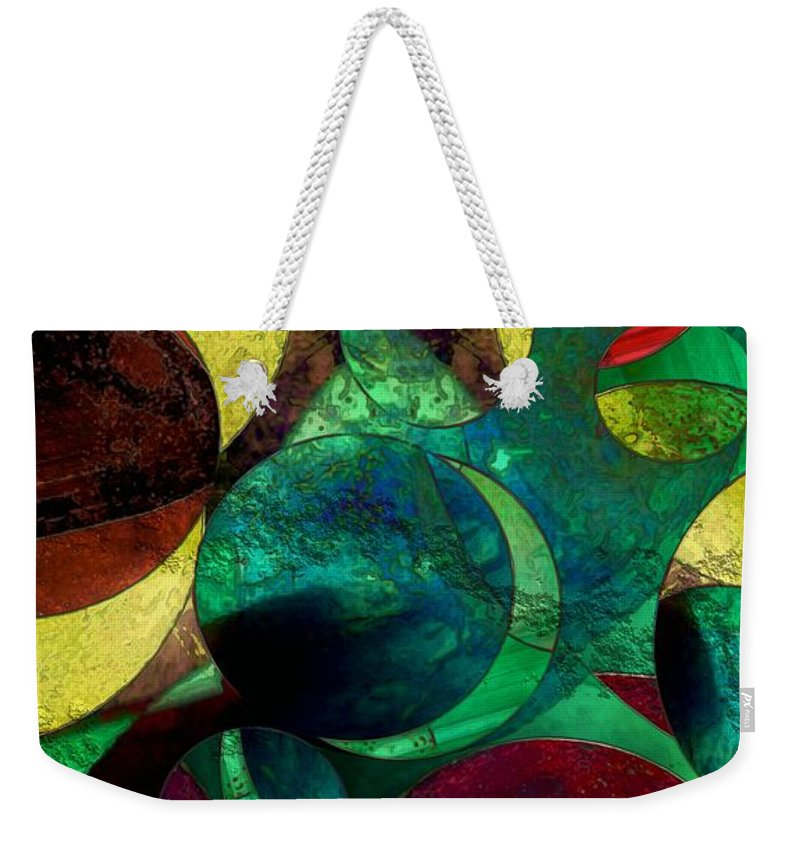 Planets Weekender Tote Bag featuring the painting When Worlds Collide by RC DeWinter