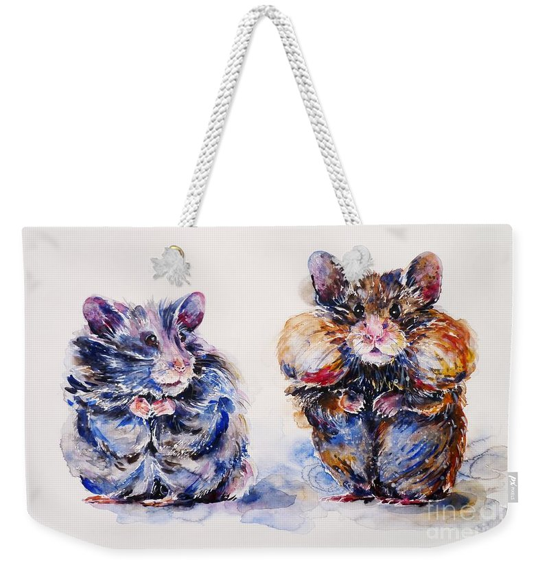 Hamsters Weekender Tote Bag featuring the painting Where Are The Biscuits by Zaira Dzhaubaeva