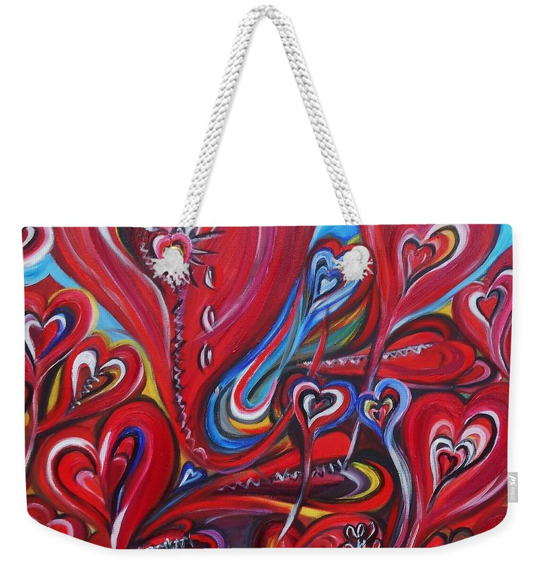 Valentine's Day Weekender Tote Bag featuring the painting Where Broken Hearts Go by Yesi Casanova