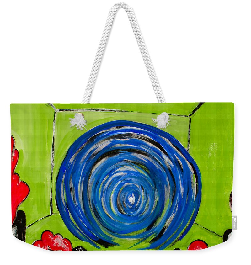 Green Weekender Tote Bag featuring the painting Where Girls Dream by Ryanne Bevenger