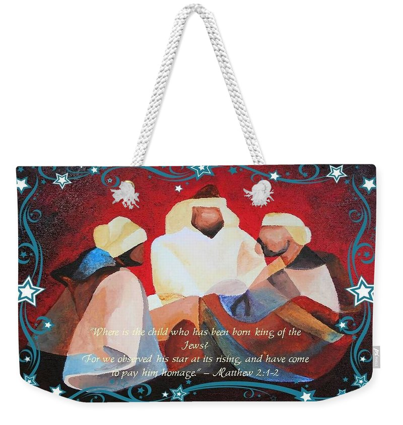Three Kings Weekender Tote Bag featuring the painting Where Is The Child Who Has Been Born King Of The Jews by Taiche Acrylic Art