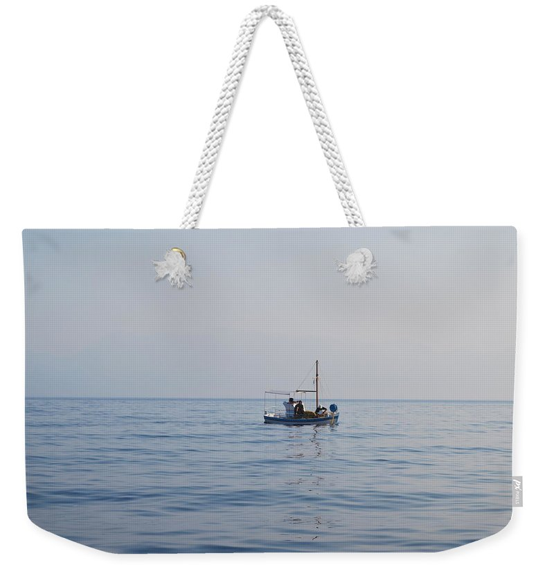 Fishing Boat Weekender Tote Bag featuring the photograph Where Is The Fish? by George Katechis